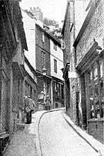 Drury Hill in the 1920s. This ancient street was swept away by the building of the Broadmarsh Centre in the 1960s.