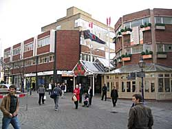 The charmless buildings and entrance to the Broad Marsh Centre that replaced Severn's shop (A Nicholson, 2004).