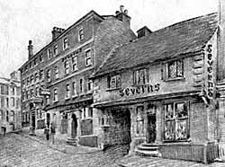 Sketch of Severn's wine and spirit shop on Middle Pavement.