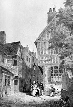 THE UPPER PART OF ST. PETER'S GATE, 1870, looking eastward, with the fine old oak framed house, at the north-east corner of St. Peter's Church Yard.