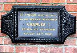 Plaque commemorating the raising of King Charles's standard in 1642.