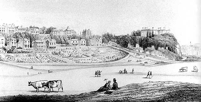A Victorian view of the Park. The ruins of Nottingham Castle are visible on the right of the panorama.