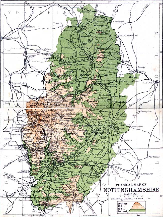 Physical map of Nottinghamshire