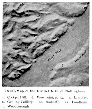Relief map of the district N.E. of Nottingham
