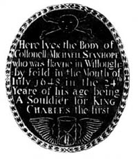 Brass of Colonel Michael Stanhope, 1648, in Willoughby-on-the-Wolds church.