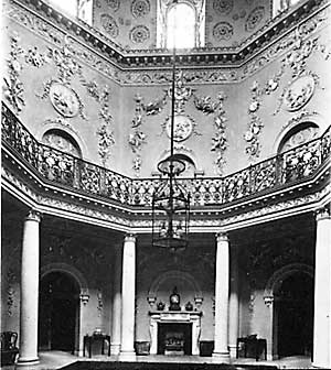 The Octagonal Hall at Nuttall Temple. The impressive stuccowork was by Thomas Roberts of Oxford.