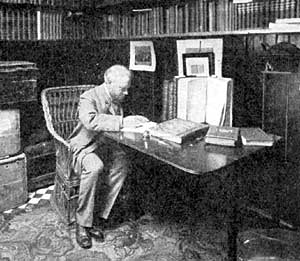 A typical portrait of Cornelius Brown in his study reading the proofs of the History of Newark.