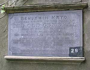 Memorial plaque to Benjamin Mayo, 'The Old General', in the General Cemetery.