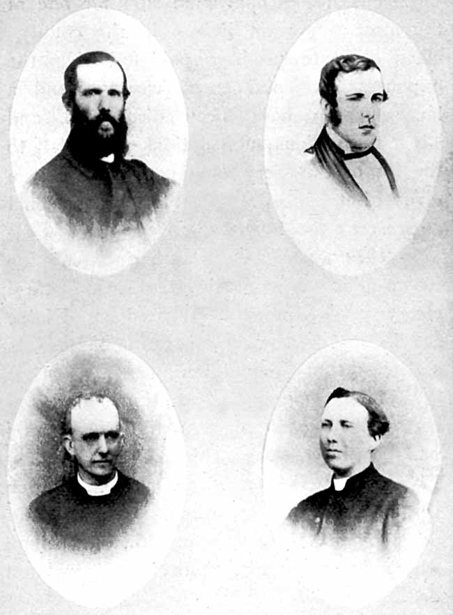 THE LAST FOUR VICARS. Clockwise: Rev. Alfred Brook, 1853-1857; Rev. Arthur Brook, 1857-1866; Rev. Canon A. F. Ebsworth, 1875; Rev. Canon Charles Gray, 1866-1875.