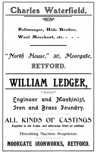 Charles Waterfield (feelmonger); William Ledger (engineer and machinist, iron and brass foundry)