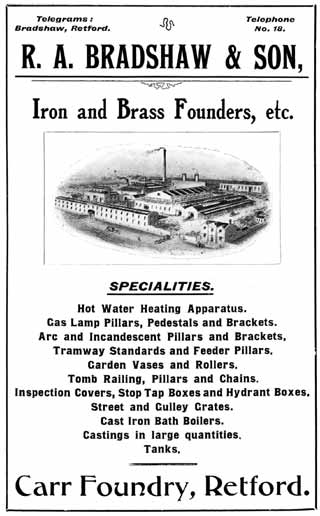 R A Bradshaw & Son (iron and brass founders etc)