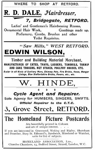R D Dale (hairdresser); Edwin Wilson (timber and building material merchant); W Hinde (cycle agent and repairer)