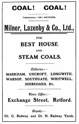Milner, Lazenby & Co Ltd. coal merchants advert