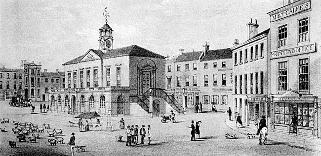 View of East Retford market square and town hall in the 1840s.