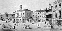 Retford market place and old town hall in 1848.