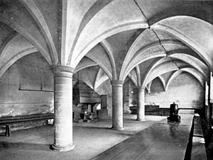 The vaulted undercroft at Rufford Abbey in the 1930s.