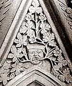 The 'Green Man' in Southwell Minster chapter house.