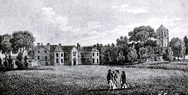 Staunton Hall and church in 1812.