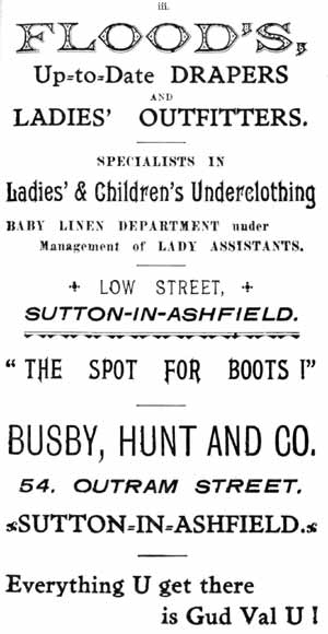 Floods, Up-to-date drapers and ladies' outfitters ... Low Street, Sutton-in-Ashfield / Busby, Hunt and Co.. 54 Outram Street