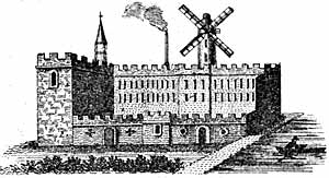 Engraving of Sutton's first mill or factory