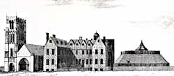 Thurgarton Priory in the early 18th century as drawn by Samuel Buck (1726).