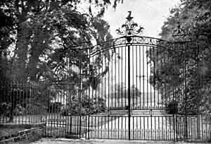The 17th century gates to Watnall Hall photographed in 1910.