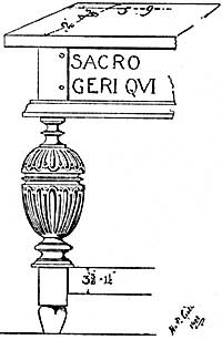 Drawing of 17th century altar table leg