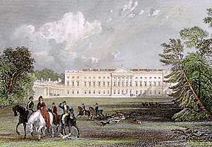 Worksop Manor in the 1830s. James Paine was commissioned to build a replacement for the Elizabethan mansion. However, only one wing was completed and work stopped on the house in 1767. The wing was demolished in the 1840s.
