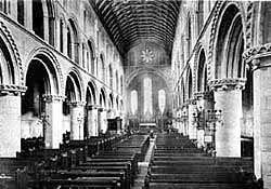Interior of Worksop Priory in 1900.